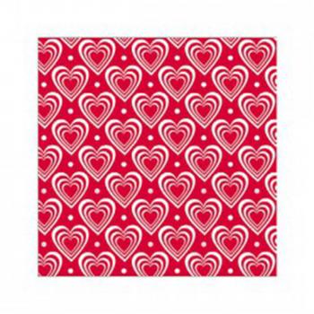 Servietten 3D Hearts Red/White