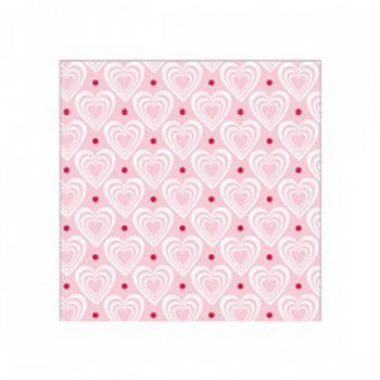 Servietten 3D Hearts Pink/White