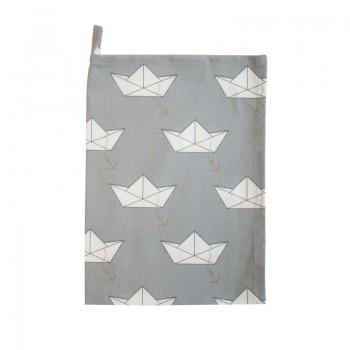 Geschirrtuch grau mit Papierschiffchen