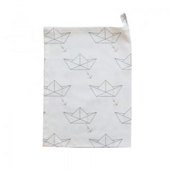 Geschirrtuch weiß mit Papierschiffchen