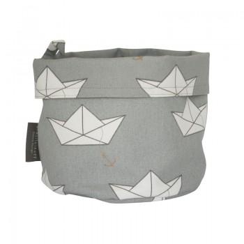 Brotkorb mit Papierschiffchen, grau
